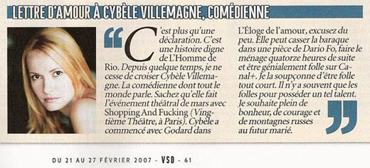 Article de VSD à propos de la comédienne Cybèle Villemagne