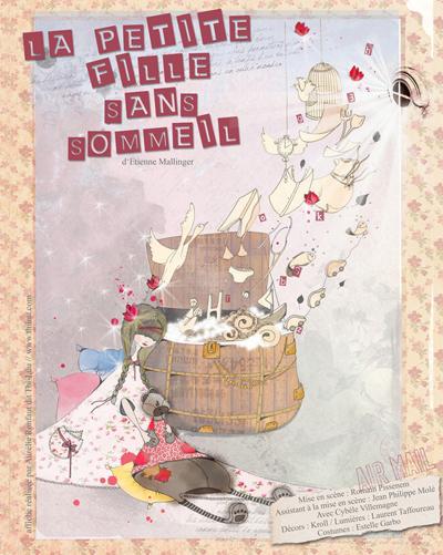 Affiche de la pièce de théâtre, La petite fille sans sommeil d'Etienne Mallinger